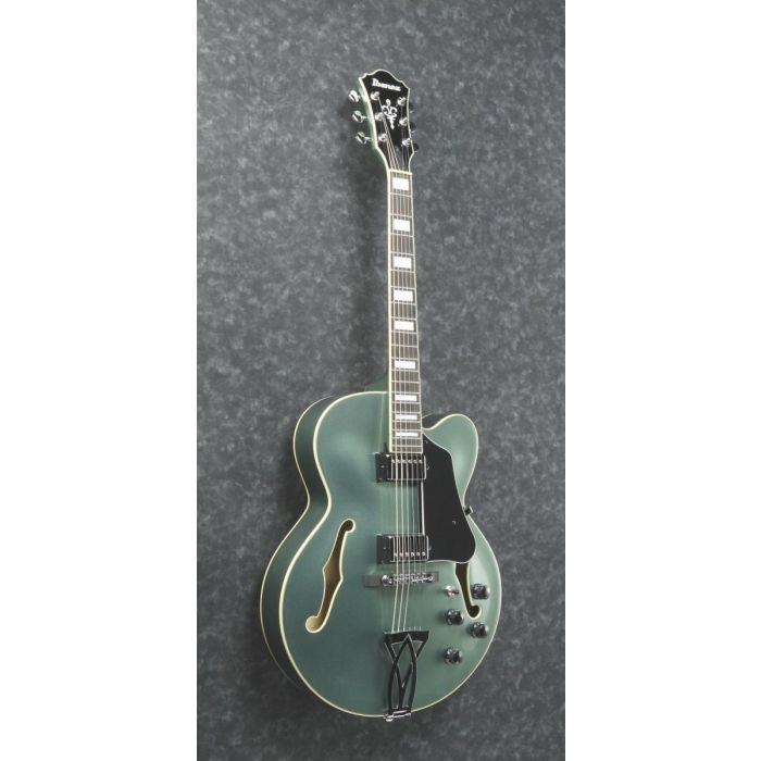 Front angled view of an Ibanez Artcore AF75 hollow body guitar in Olive Metallic