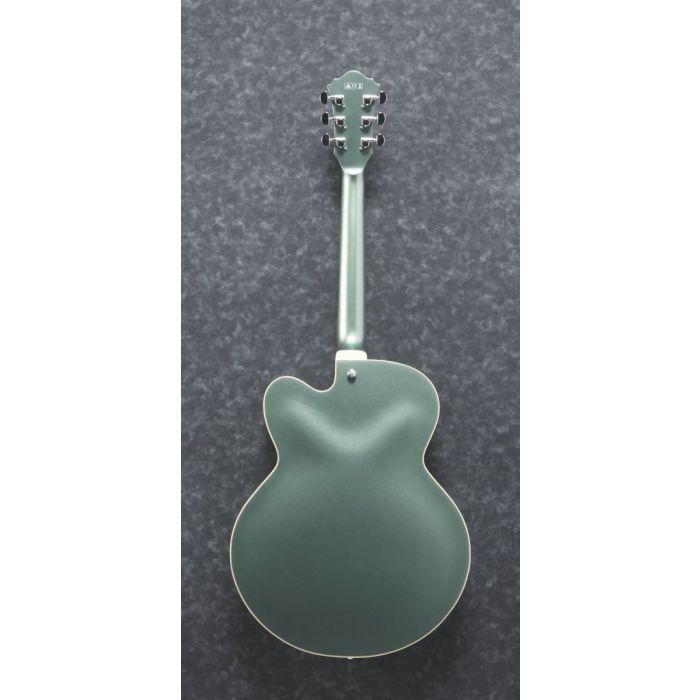 Full rear view of an Ibanez Artcore AF75 Hollod Body guitar in Olive Metallic