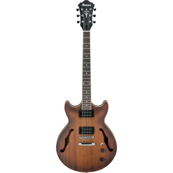 Full frontal view of an Ibanez Artcore AM53 semi hollow guitar in a Tobacco Flat finish
