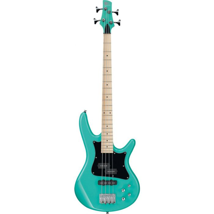 Full frontal view of an Ibanez Mezzo electric bass in Aqua Green