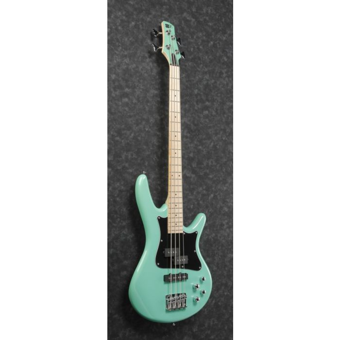 Front angled view of an Ibanez Mezzo bass in Aqua Green