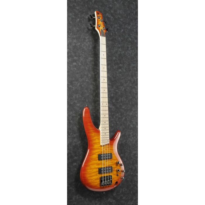 Front angled view of a Sunrise Red Burst Ibanez SR400EMQM bass guitar
