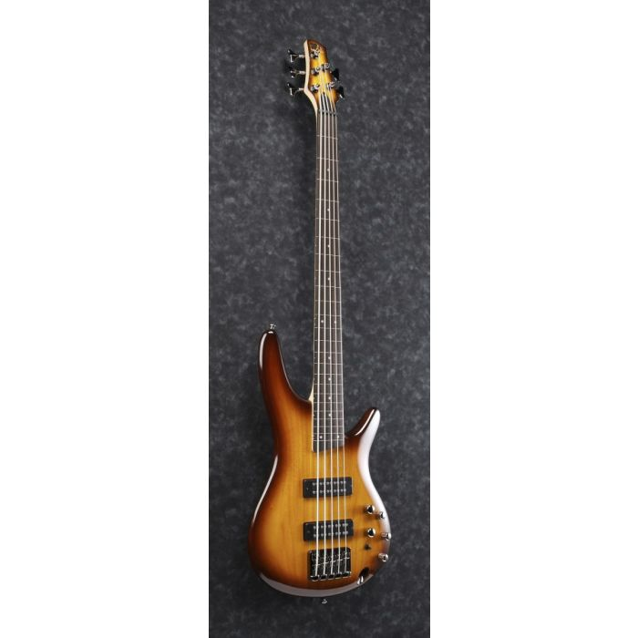 Front angled view of a fretless 5-string Ibanez SR bass