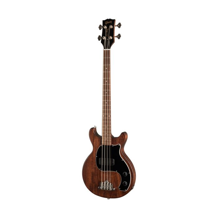 Full frontal image of a Worn Brown Gibson Les Paul Junior Tribute DC electric bass guitar