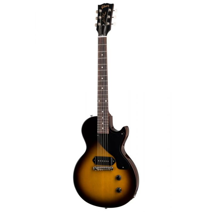 Full frontal image of a Gibson Les Paul Junior guitar in Vintage Tobacco Burst
