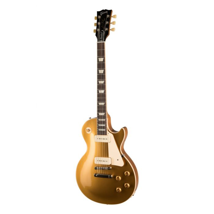 Full frontal image of a Gibson Les Paul Standard 50s P90 Gold Top electric guitar
