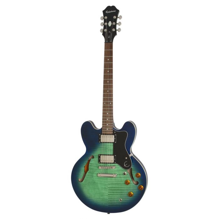 Full frontal image of an Epiphone Ltd Edition Dot Deluxe FM Aquamarine Semi Hollow Guitar