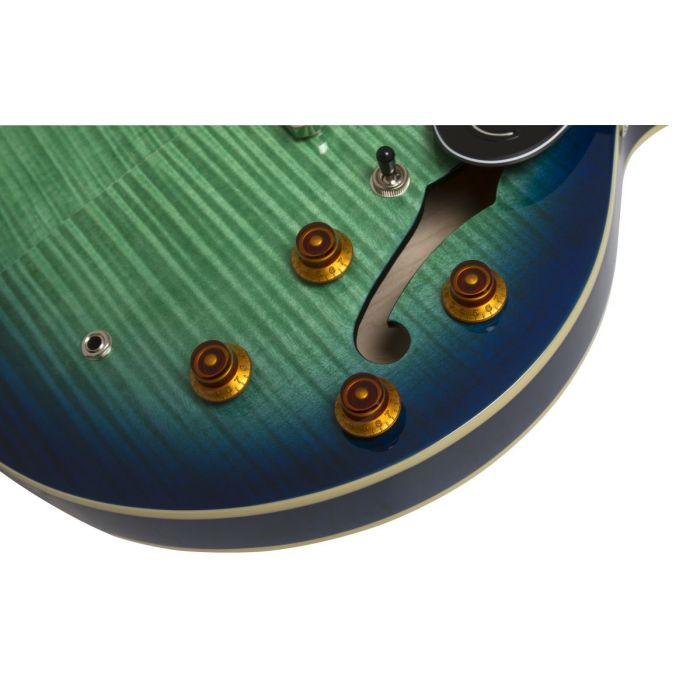 Control panel closeup view of an Epiphone Limited Edition Dot Deluxe guitar in Aquamarine