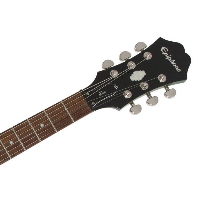 Headstock and neck view on an Epiphone Limited Edition Dot Deluxe Flame Maple guitar