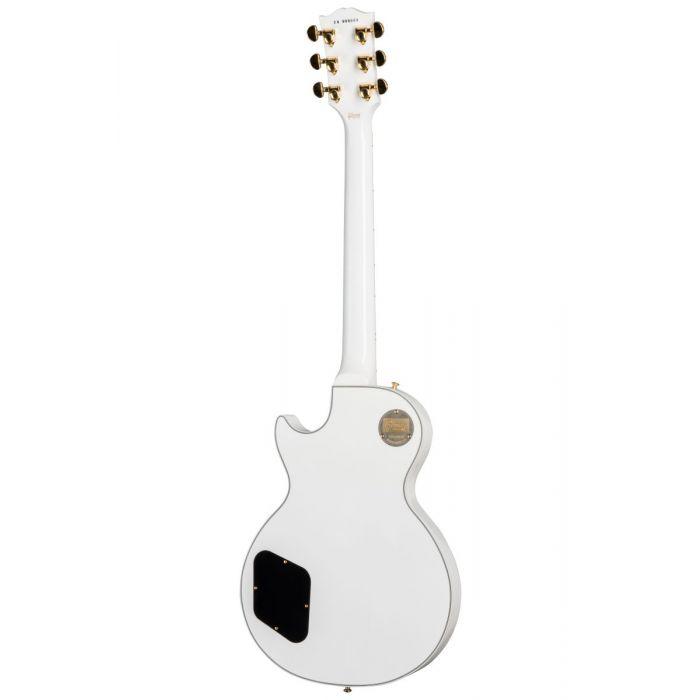 Full rear vie wof an Alpin White Gibson Les Paul Custom guitar
