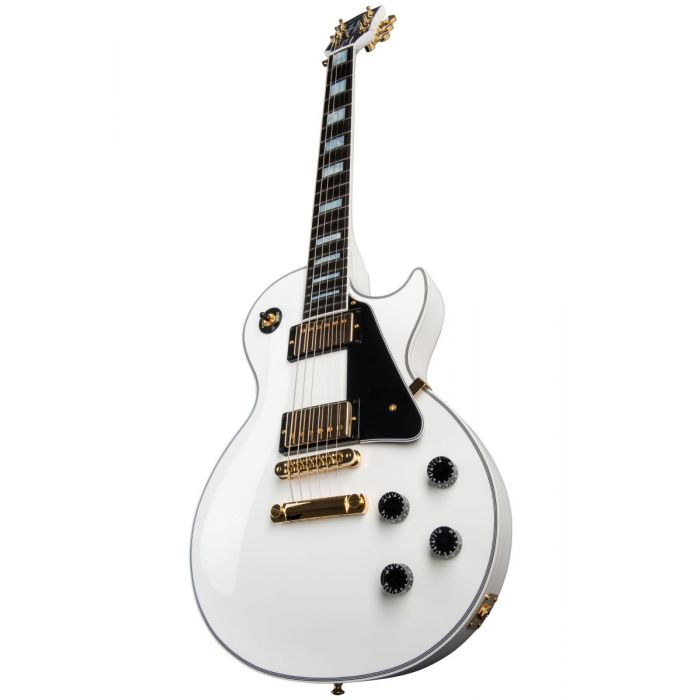 Front angled closeup view of an Alpine White Gibson Les Paul Custom