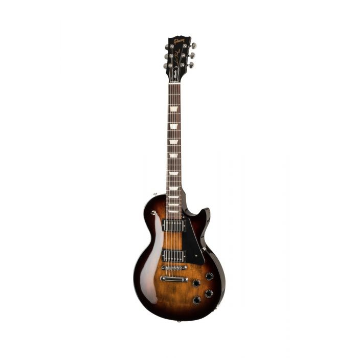 Full frontal image of a 2019 Gibson Les Paul Studio guitar with a Smokehouse Burst finish