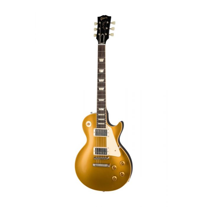 Full frontal view of a Gibson 1957 Les Paul Goldtop Darkback reissue guitar, Vintage Old Stock
