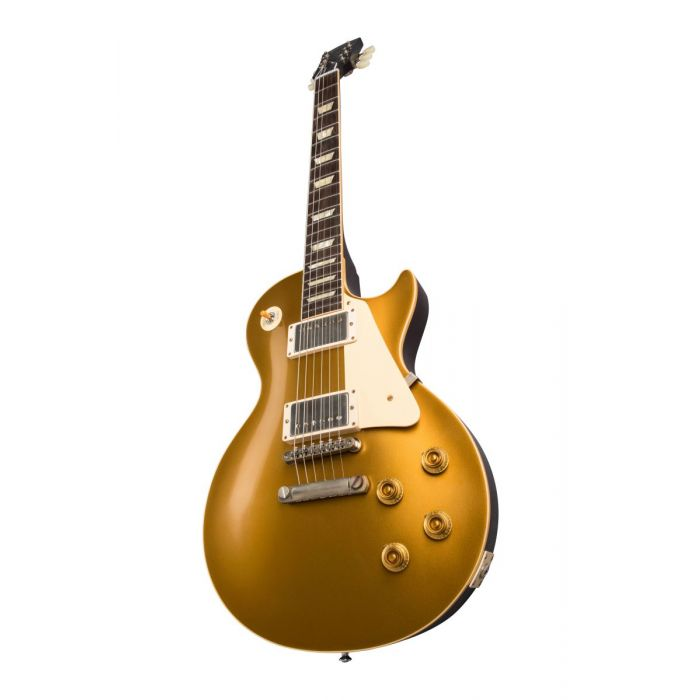 Closeup front angled view of a Gibson 1957 Les Paul Goldtop Darkback Reissue, VOS