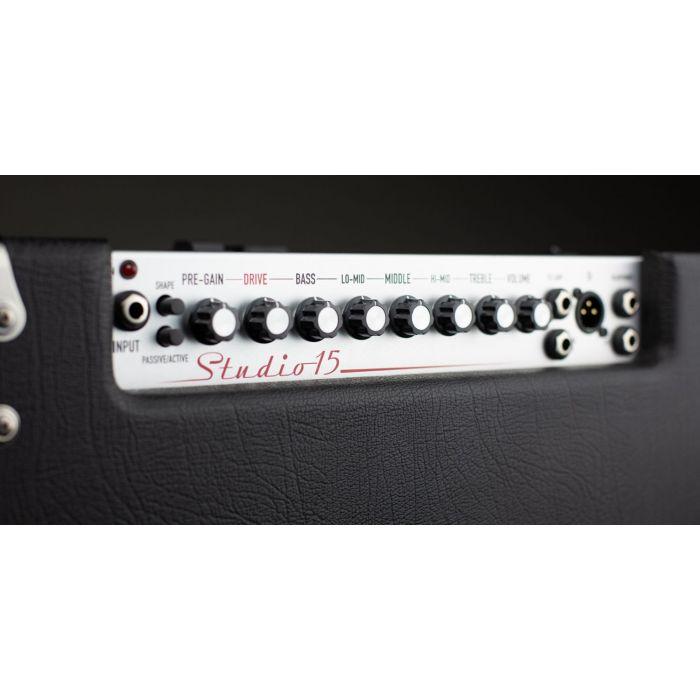 Closeup view of the panel on an Ashdown Studio-15 Super Lightweight 300 Watt Bass Amplifier