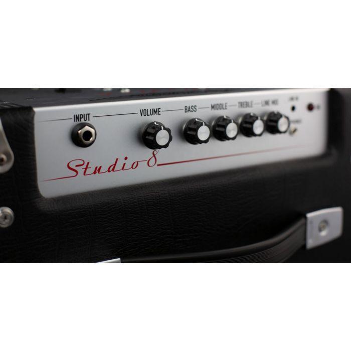 Closeup top panel view of an Ashdown Studio 8 30 Watt bass combo amp