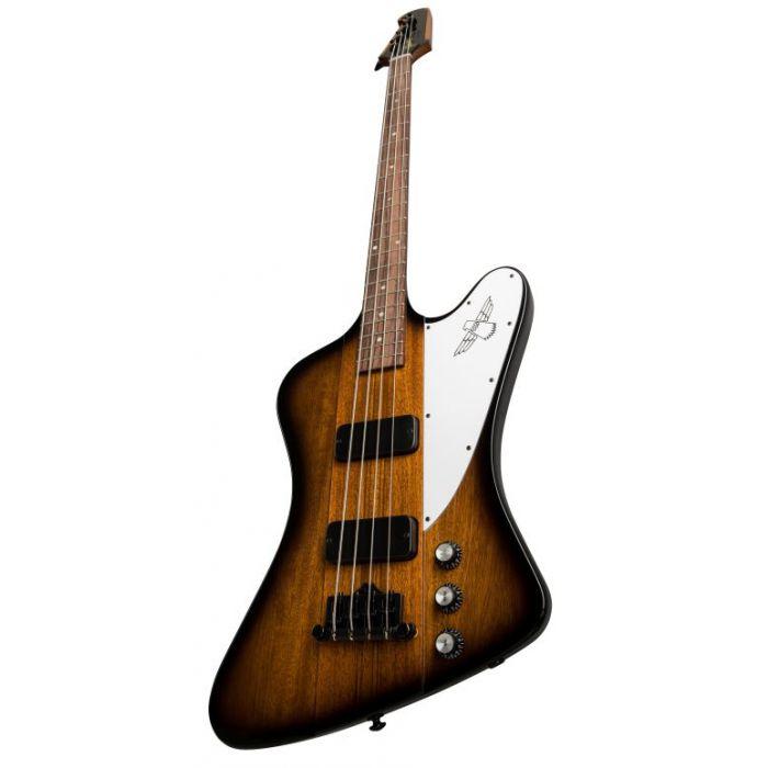Closeup frontal image of a Tobacco Burst Gibson 2019 Thunderbird Bass