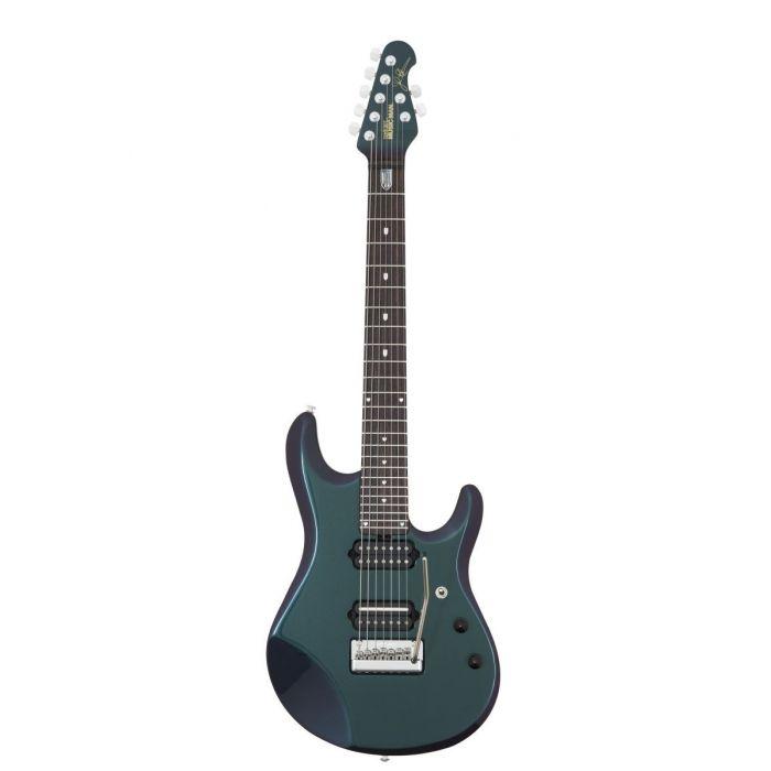 Full frontal view of a Music Man JP7 Mystic Dream John Petrucci Signature Guitar