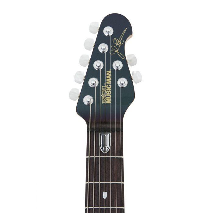 Headstock closeup view of a Music Man JP7 Mystic Dream John Petrucci Signature Guitar