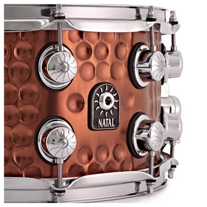 Natal Hand Hammered Steel 13 x 7 Snare Drum Badge Close Up