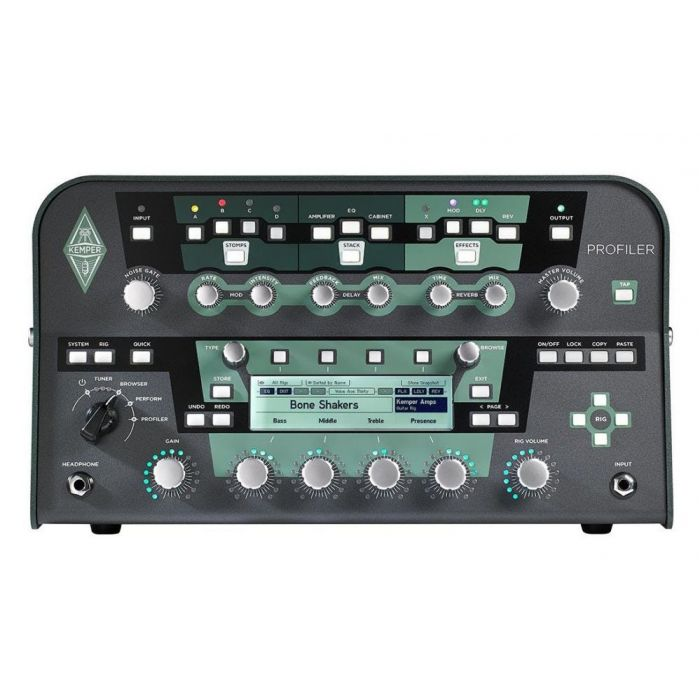 Front view of the Kemper Powered Profiling Amp Powerhead Black