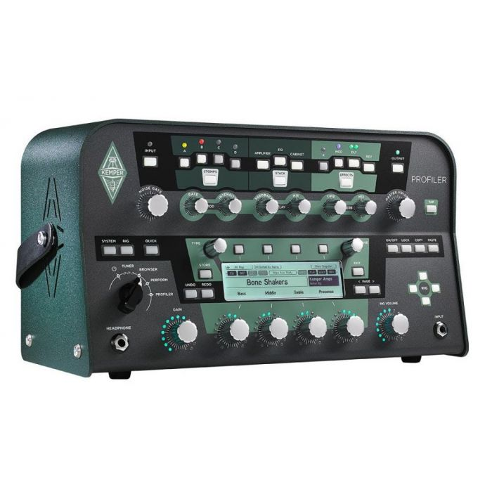 Front right-angled view of a Kemper Powered Profiling Amp Powerhead Black
