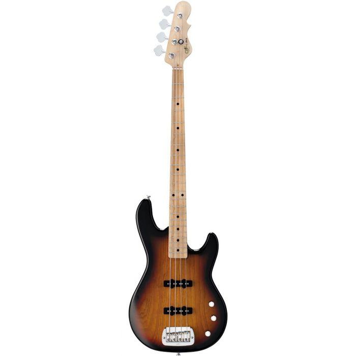 Full frontal view of a G&L Tribute Series JB-2 Bass Guitar 3-Tone Sunburst MN