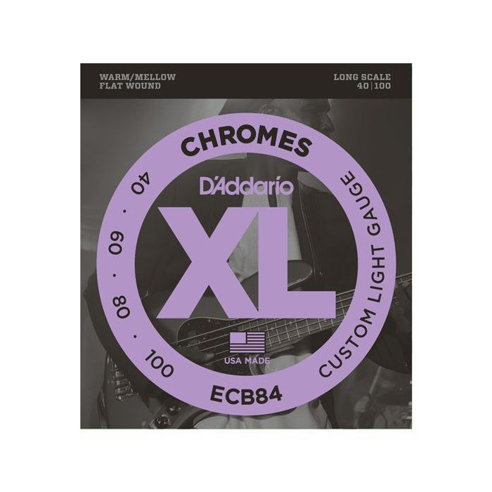 Front view of a packet of DAddario ECB84 Chromes Flatwound Bass Guitar Strings 40-100