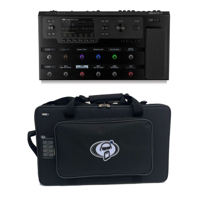 Full view of a Line 6 Helix Floor Effects Processor with Free Soft Case