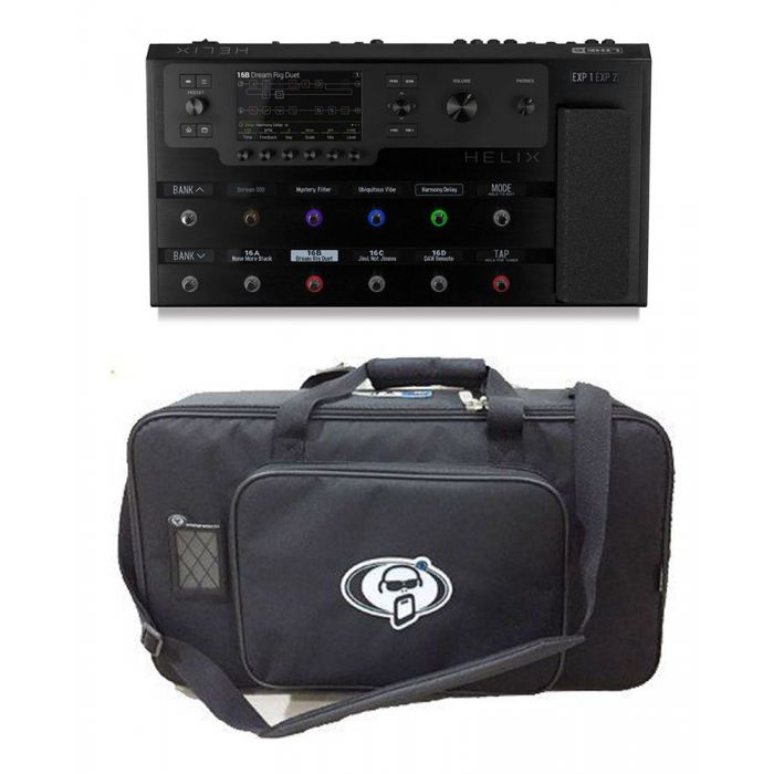 Full view of a Line 6 Helix Floor Effects Processor with Free Rigid Case