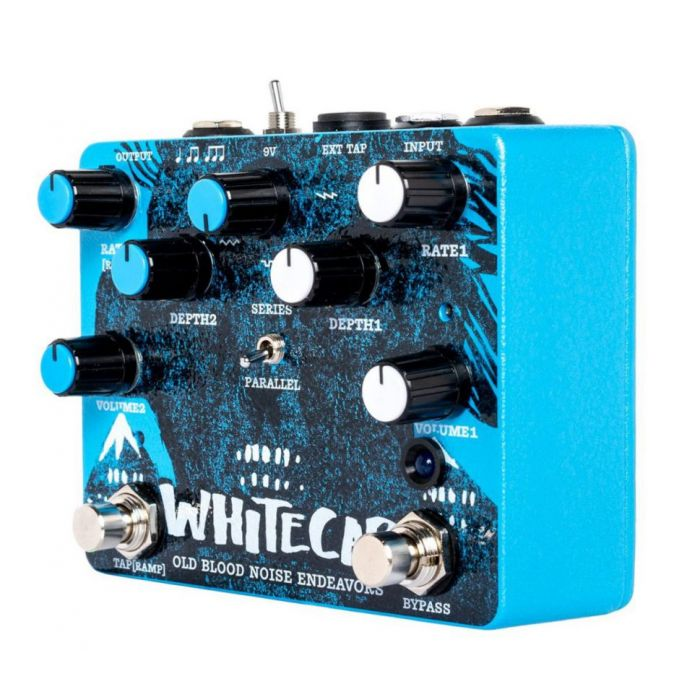 Front left angled view of a Old Blood Noise Endeavours Whitecap Asynchronous Dual Tremolo Pedal