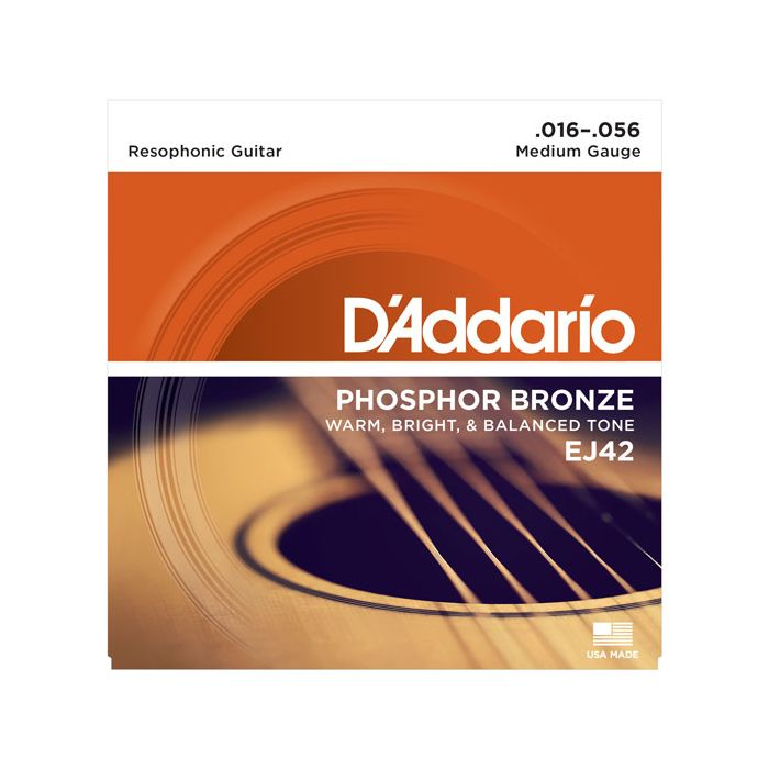 Front image of a DAddario EJ42 Resophonic Guitar Strings 16-56 package