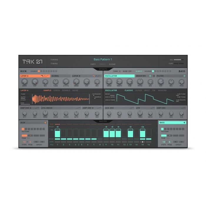 TRK-01 - Start strong with the creative kick and bass instrument.