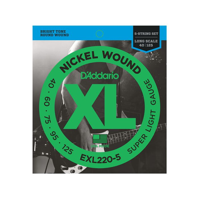 Front view of a DAddario EXL220-5 5-String Nickel Wound Bass Strings packet