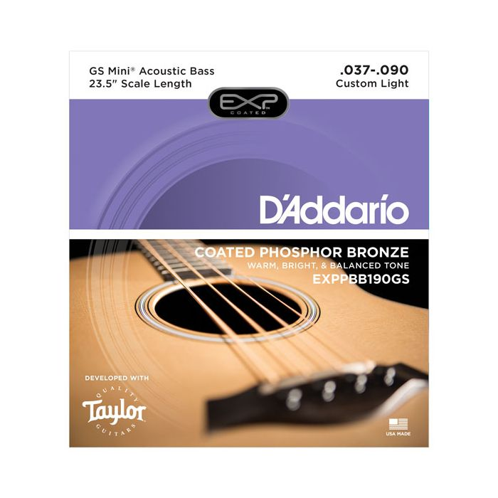 Front view of a DAddario EXP Coated Taylor GS Mini Bass String Set packet