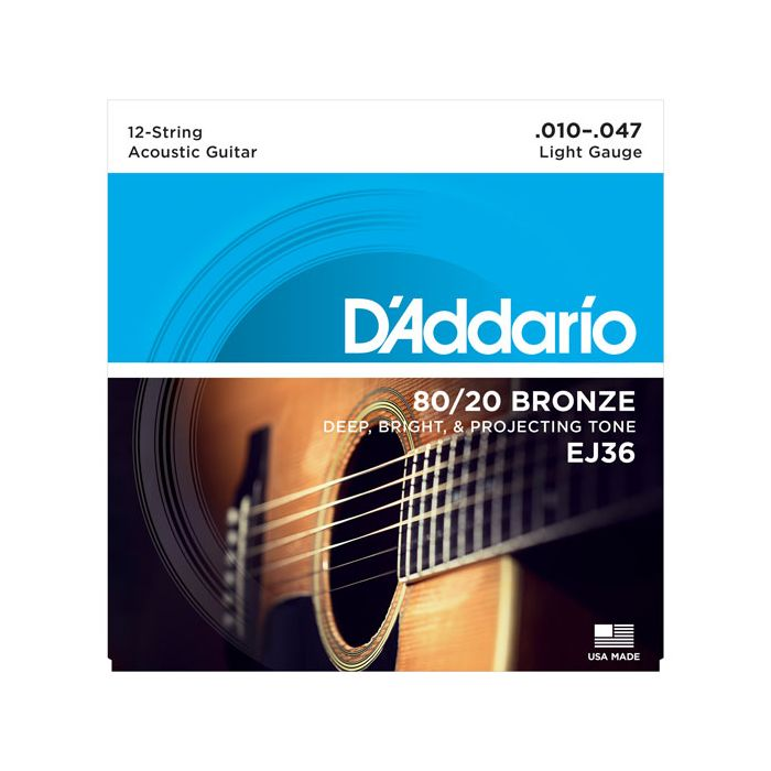 Front view of a Daddario EJ36 12-String Bronze Acoustic Guitar Strings Light gauge packet