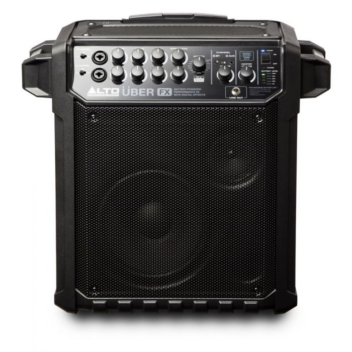 Full frontal view of a Alto Uber FX Portable Self-Powered PA Speaker