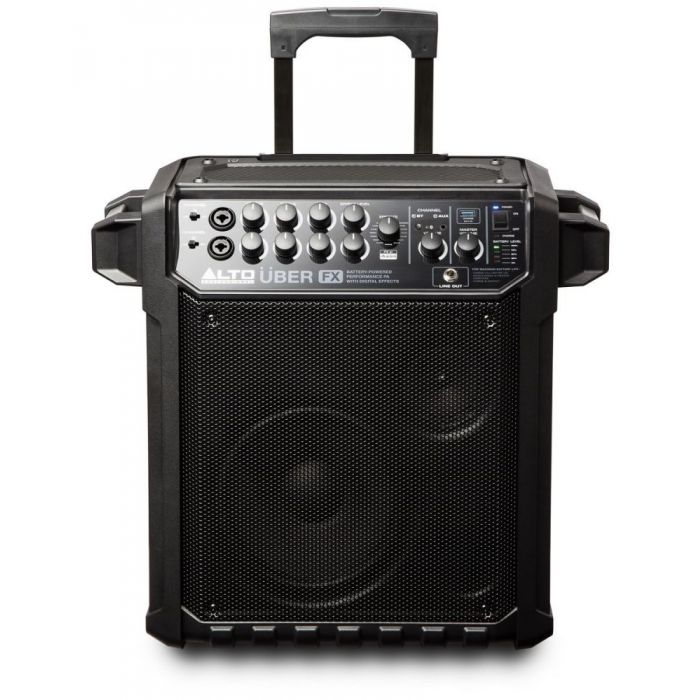 Front view of a Alto Uber FX Portable Self-Powered PA Speaker with extended handle