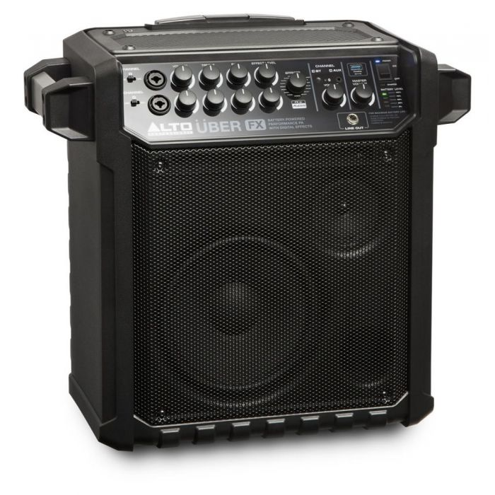 Front right angled view of a Alto Uber FX Portable Self-Powered PA Speaker