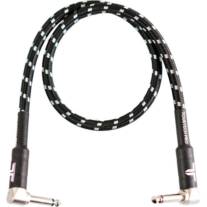 Full view of a TOURTECH Pro Angled Braided Black and Grey 2ft Guitar Cable