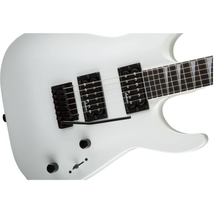 Front closeup view of a Jackson JS Series Dinky Arch Top JS22 DKA Snow White