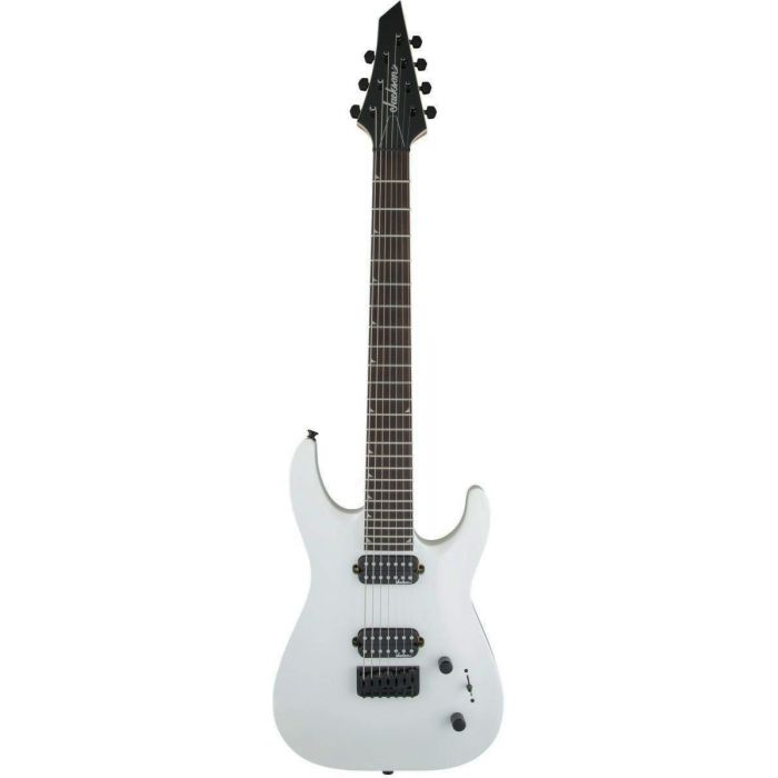 Full frontal view of a Jackson JS Series Dinky Arch Top JS32-7 DKA HT 7-String Snow White