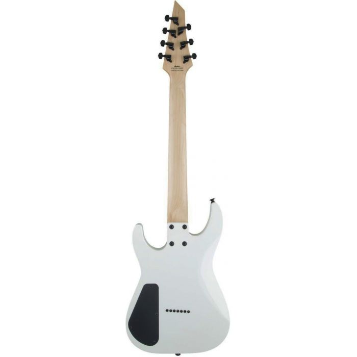Full rear view of a Jackson JS Series Dinky Arch Top JS32-7 DKA HT 7-String Snow White