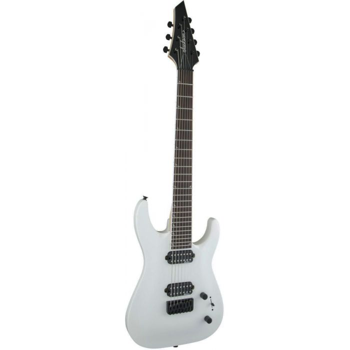 Front tilted view of a Jackson JS Series Dinky Arch Top JS32-7 DKA HT 7-String Snow White