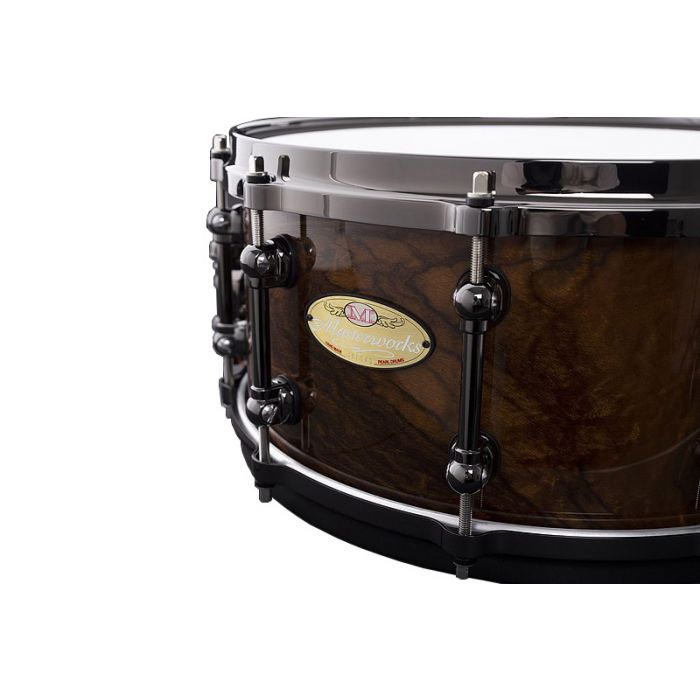 Pearl Masterworks Limited Edition 20th Anniversary Snare Badge Close Up