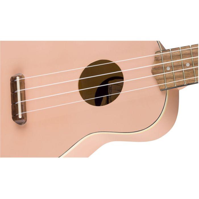 Body Detail of Shell Pink Fender Ukulele