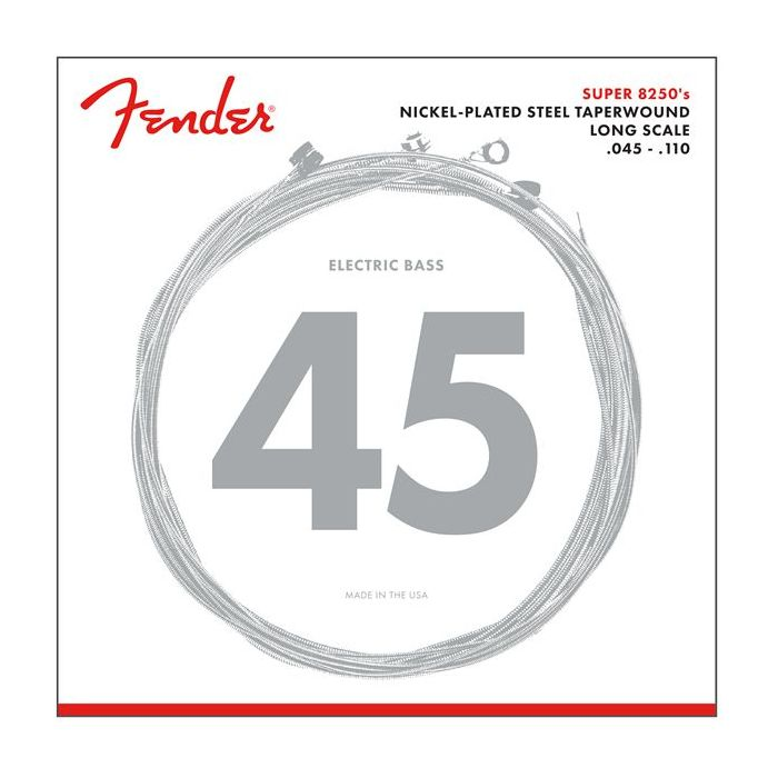Front view of a packet of Fender Super 8250 Bass Strings Nickel Long Scale 45-110