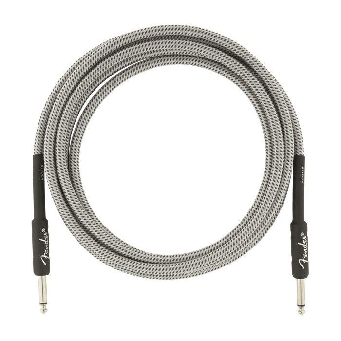 Coiled view of a Fender Professional Series Instrument Cable 10 White Tweed