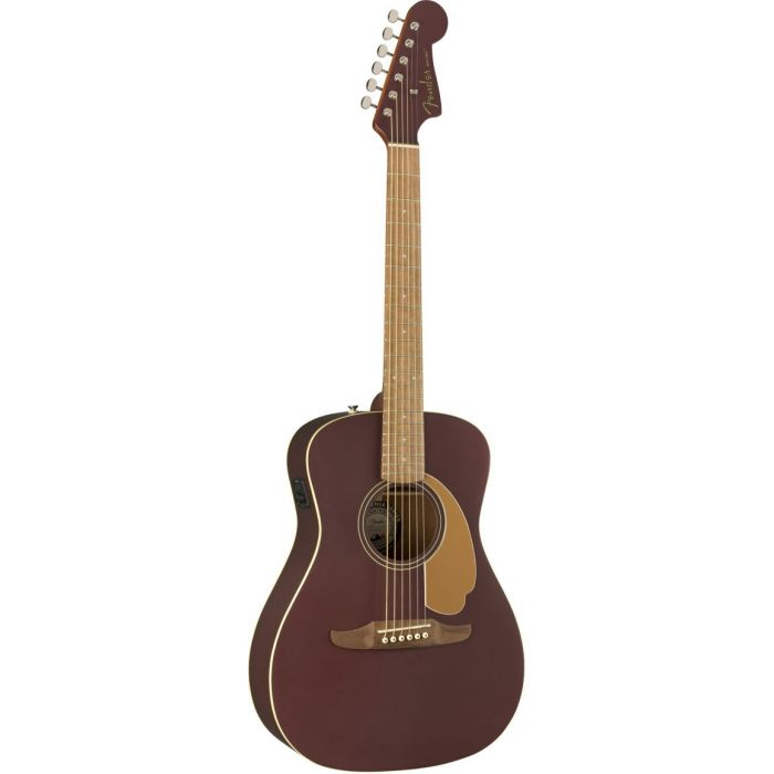 Front tilted view of a Fender Malibu Player Walnut FB Burgundy Satin Acoustic Guitar