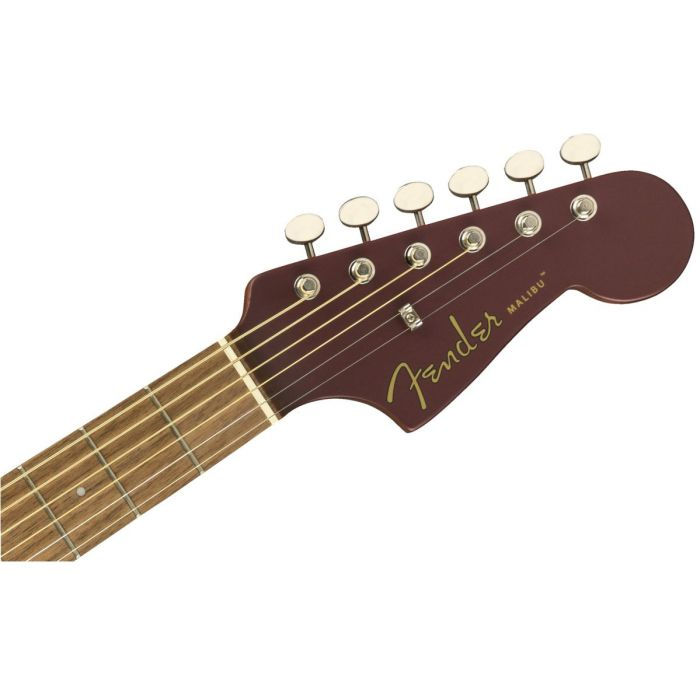 Front view of the headstock on a Fender Malibu Player Walnut FB Burgundy Satin Acoustic Guitar